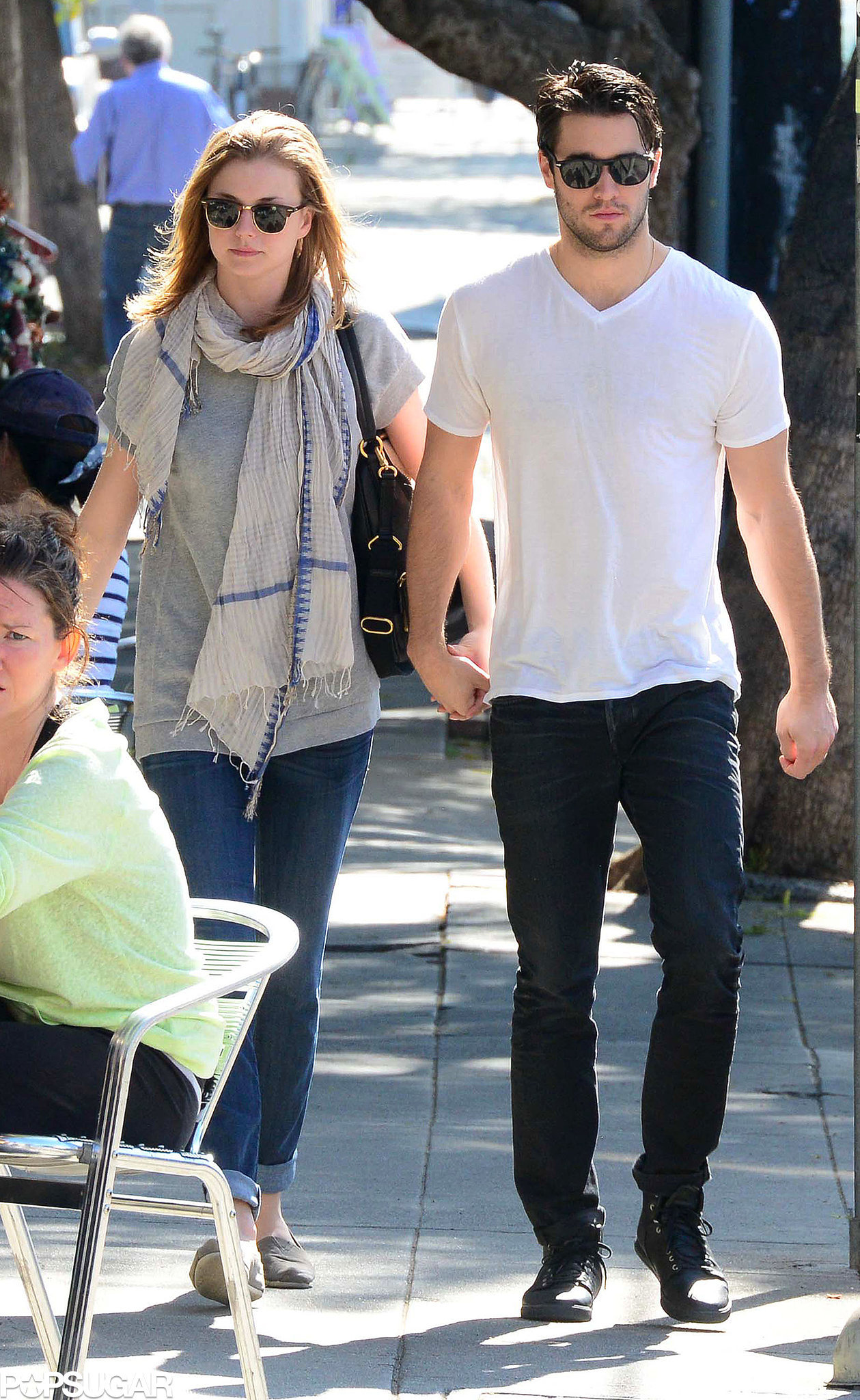 Emily VanCamp and Joshua Bowman held hands on Monday while ...