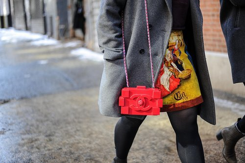 A Chanel Lego clutch is a perfect show companion.  Source: Gorunway