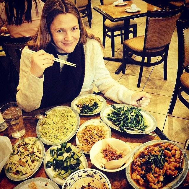 Drew Barrymore indulged her Chinese-food craving. Source: Instagram user drewbarrymore