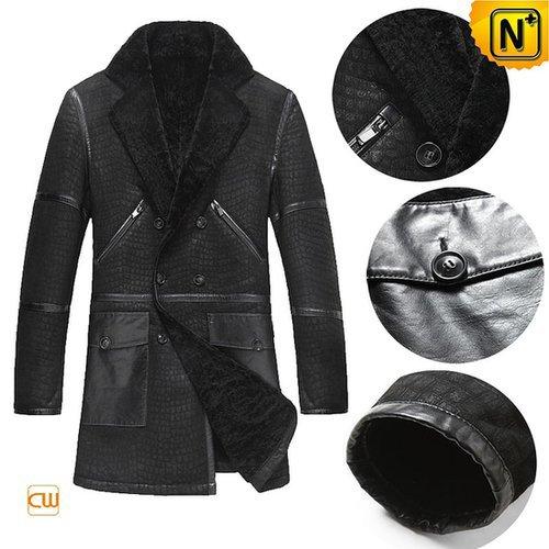 Men's Shearling Sheepskin Pea Coat CW877010