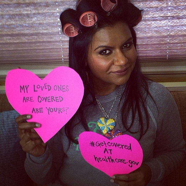 Mindy Kaling used V-Day to remind her followers to get health insurance. Source: Instagram user mindykaling