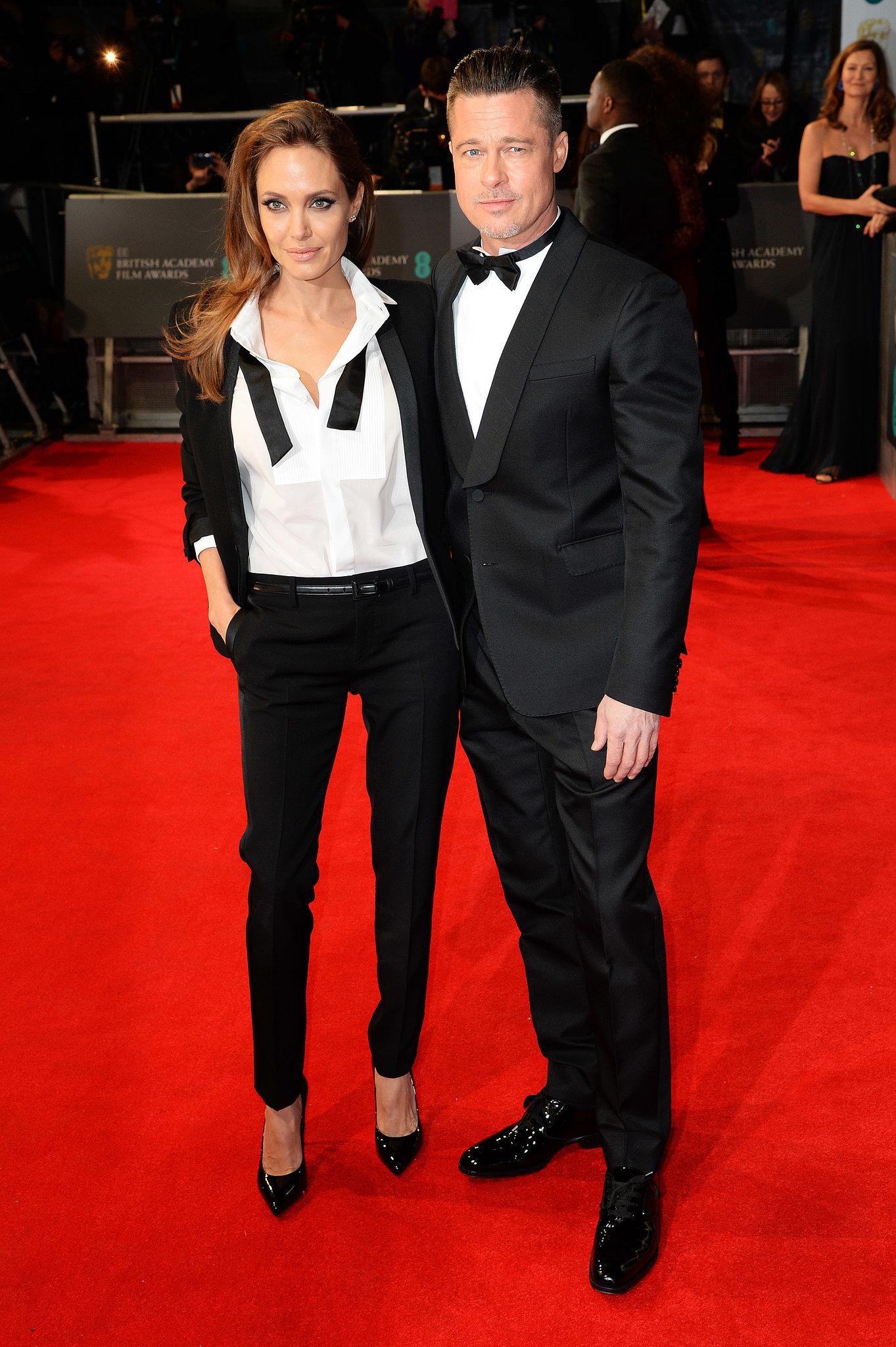 Angelina Jolie and Brad Pitt on the 2014 BAFTA Red Carpet