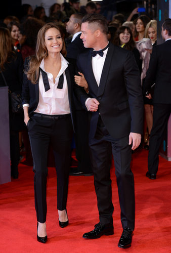 Angelina Jolie and Brad Pitt got matchy — and giggly — on the red carpet at the BAFTAs.