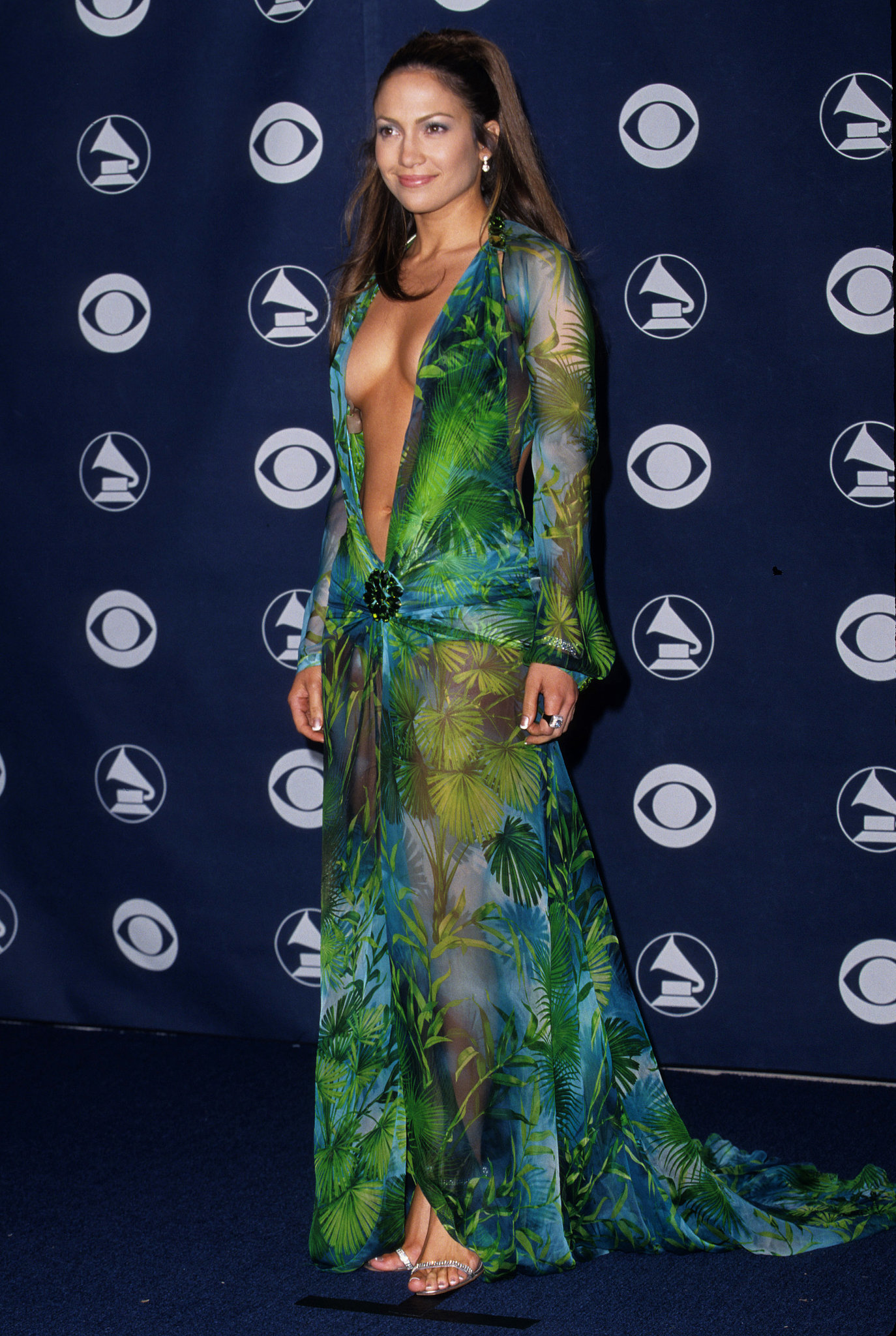 Jennifer Lopez in Versace at the Grammy Awards