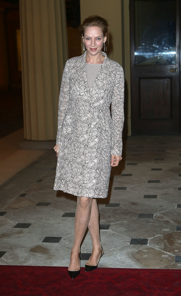 Uma Thurman attended the reception at Buckingham Palace.