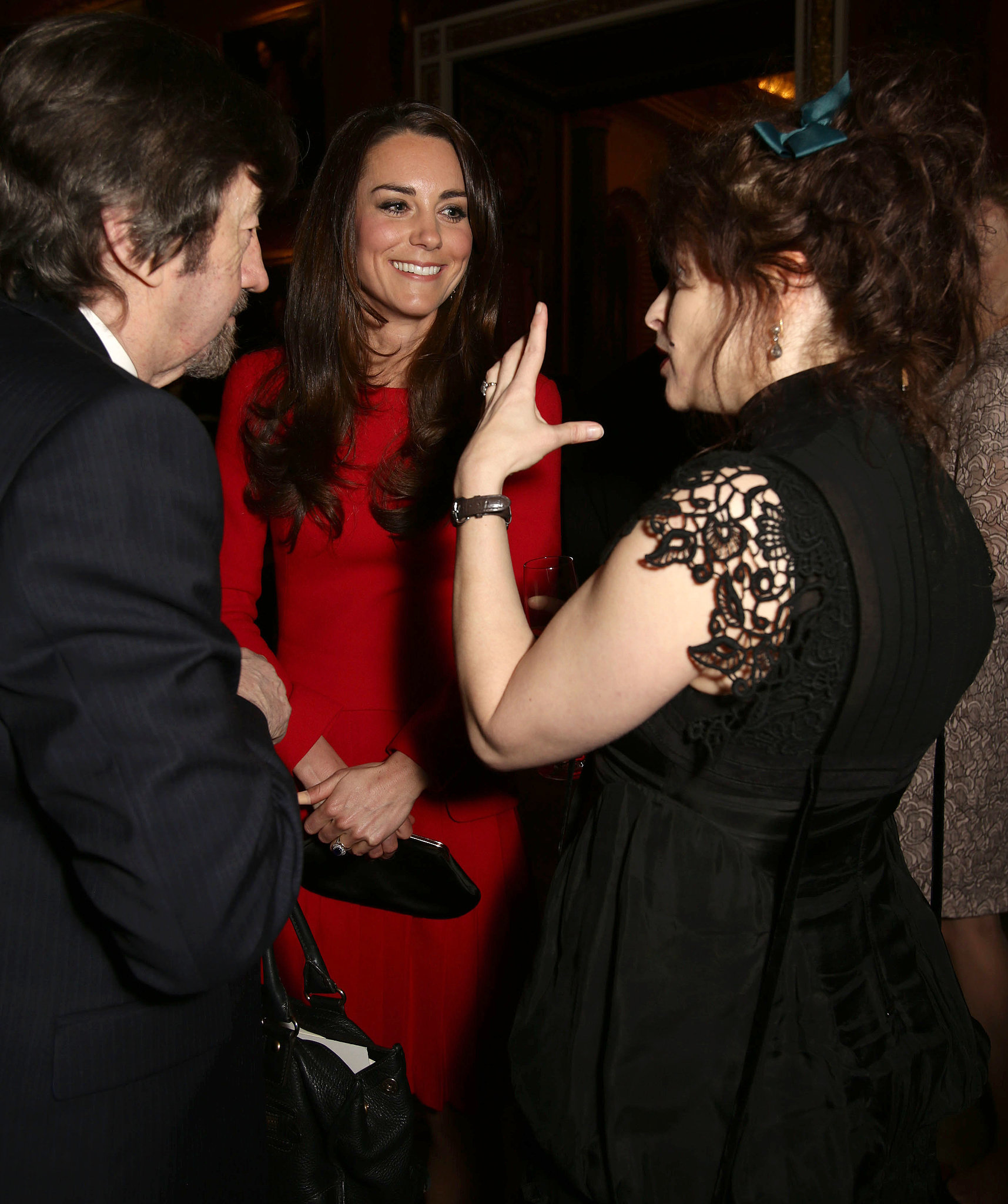 Kate chatted with Helena Bonham Carter and Sir Trevor Nunn.
