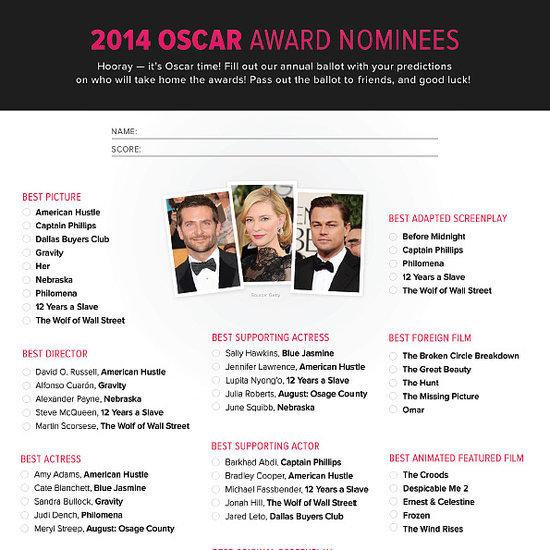 2014 Oscars Printable Ballot