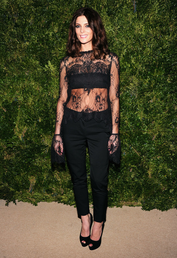 A sexy lace Wes Gordon blouse proved black on black is anything but boring.