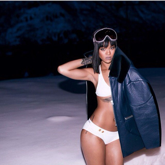 Rihanna celebrated her birthday in a bikini . . . in the snow. Source: Instagram user badgalriri