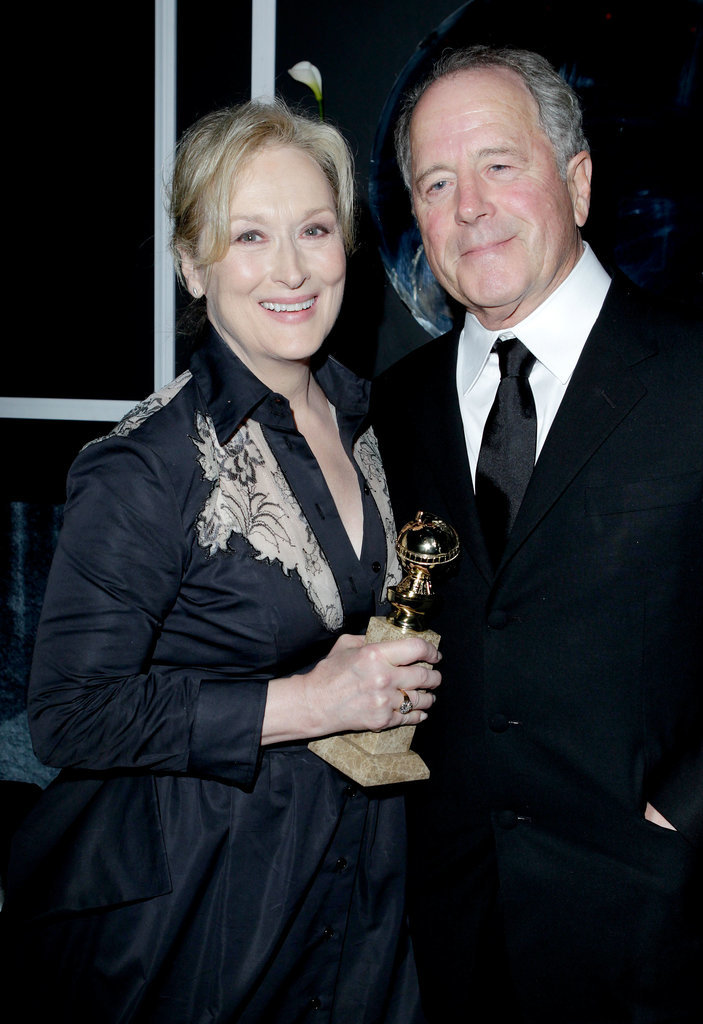 Meryl posed with Don and her Golden Globe at The Weinstein Company's afterparty in 2012.