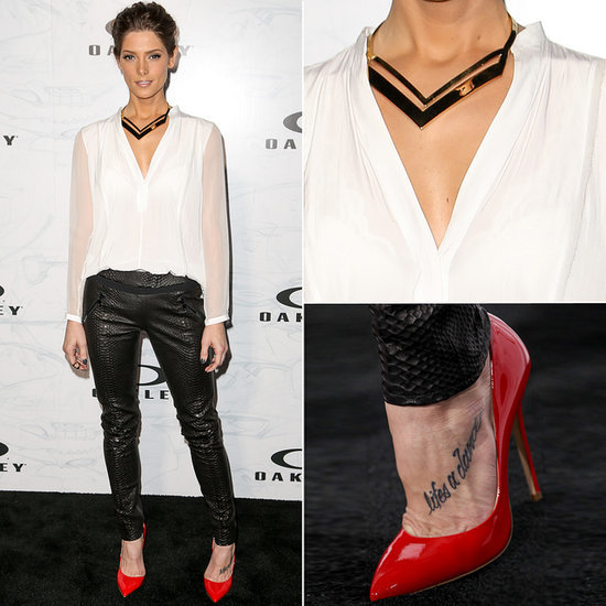 Ashley Greene Black Snakeskin Pants and White Shirt Outfit