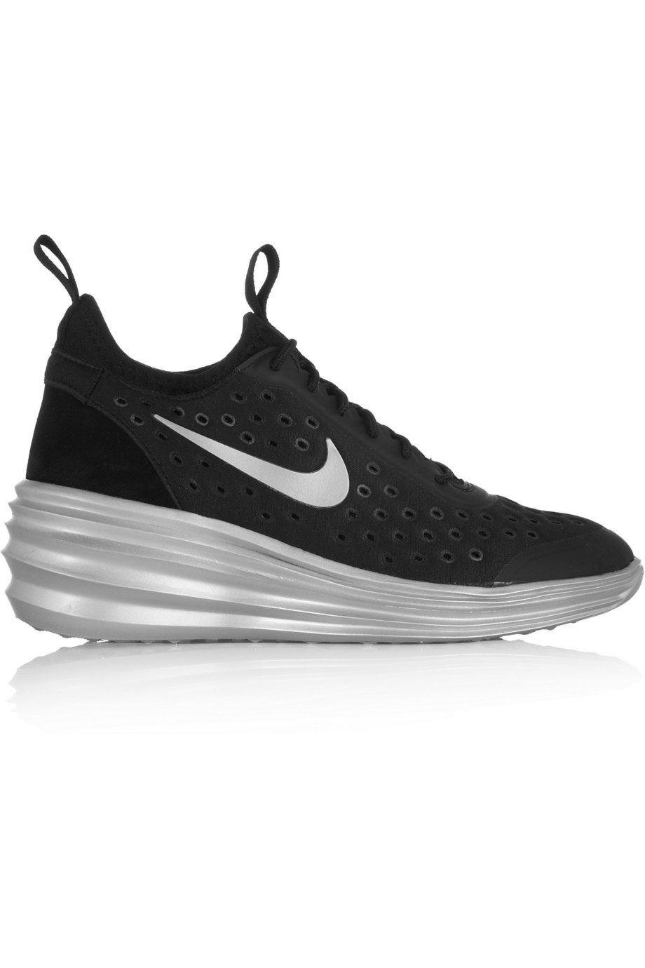 Nike LunarElite Sky Hi Canvas and Suede Wedge Sneakers