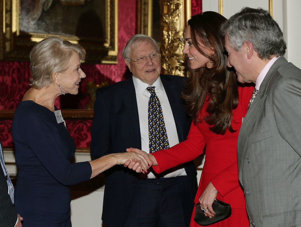 Helen Mirren met Kate Middleton at Queen Elizabeth II's special A-list reception at Buckingham Palace.