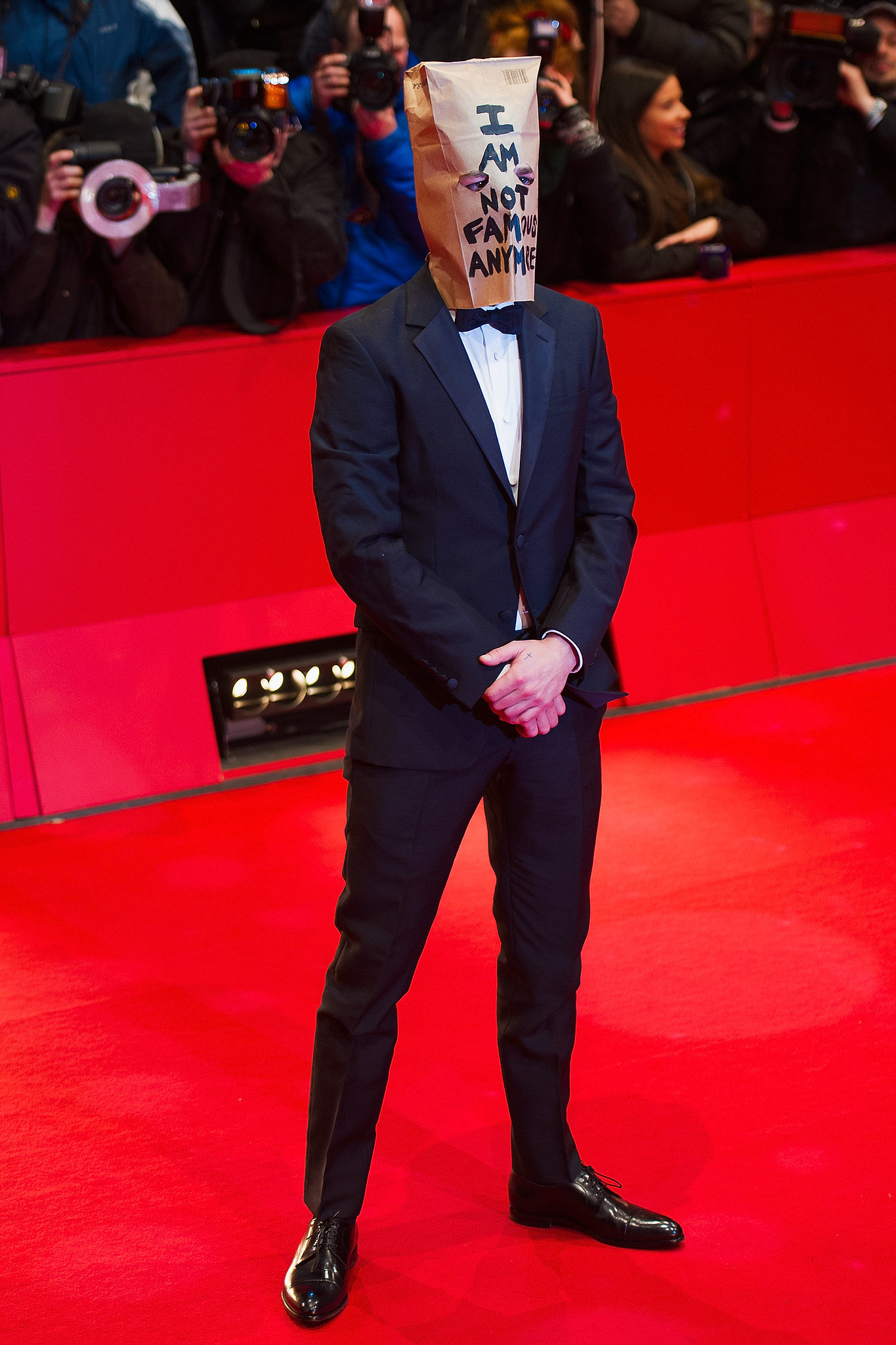 """Shia LaBeouf wore a paper bag that said """"I am not famous anymore"""" at his Nymphomaniac premiere in Berlin, and his month only got crazier after that."""