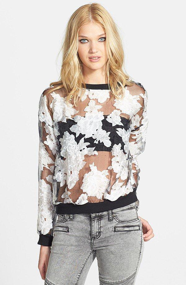 Organza Floral Sweatshirt