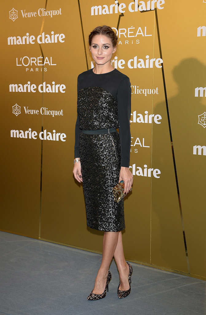 For a Marie Claire event, Olivia slipped into a sequined black sheath.