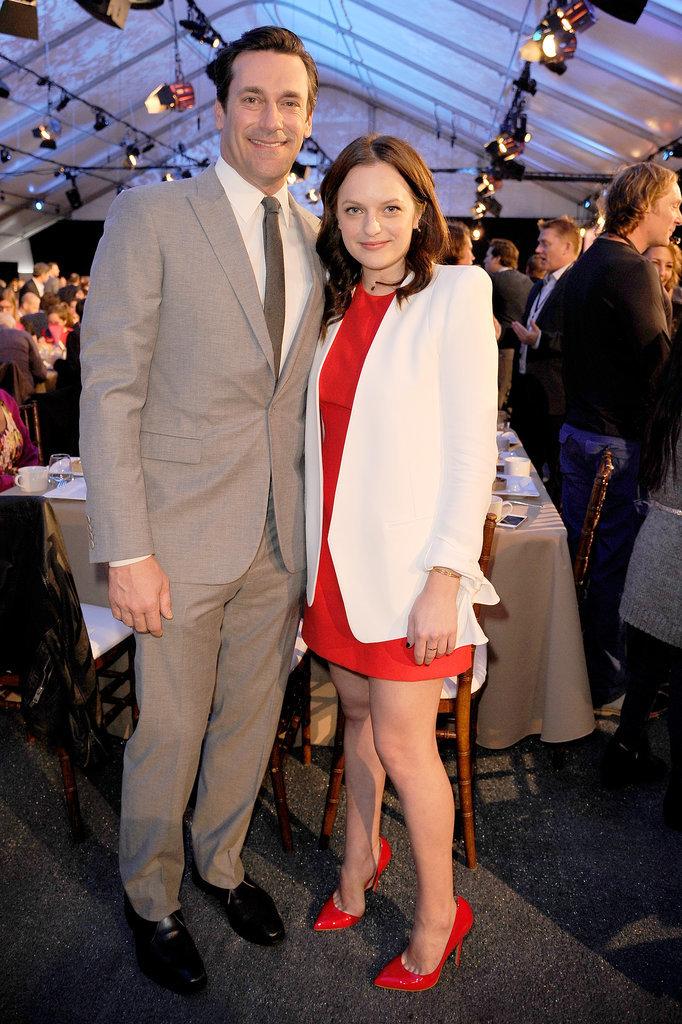 Mad Men costars Jon Hamm and Elisabeth Moss buddied up.