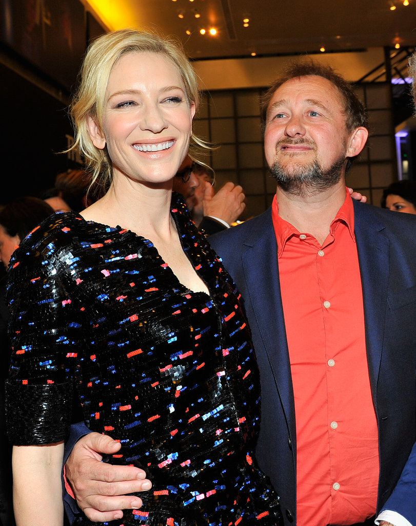 Cate Blanchett was all smiles with husband Andrew Upton at Giorgio Armani's party on Friday.