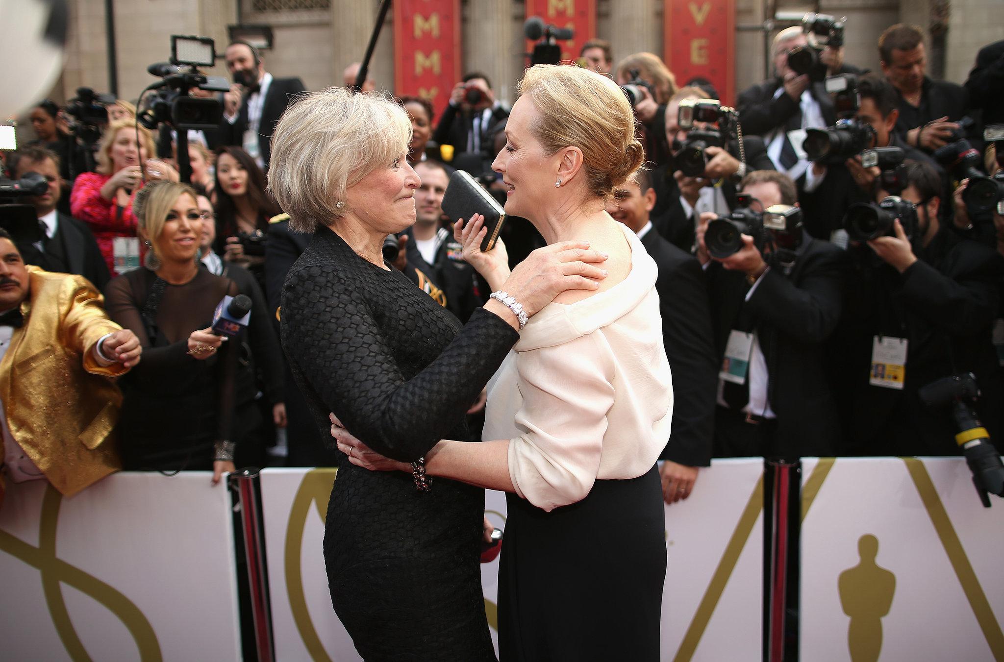 Glenn Close with Meryl Streep at the 2014 Oscars.