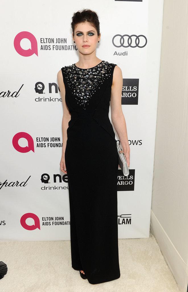 True Detective star Alexandra Daddario looked glam in black.