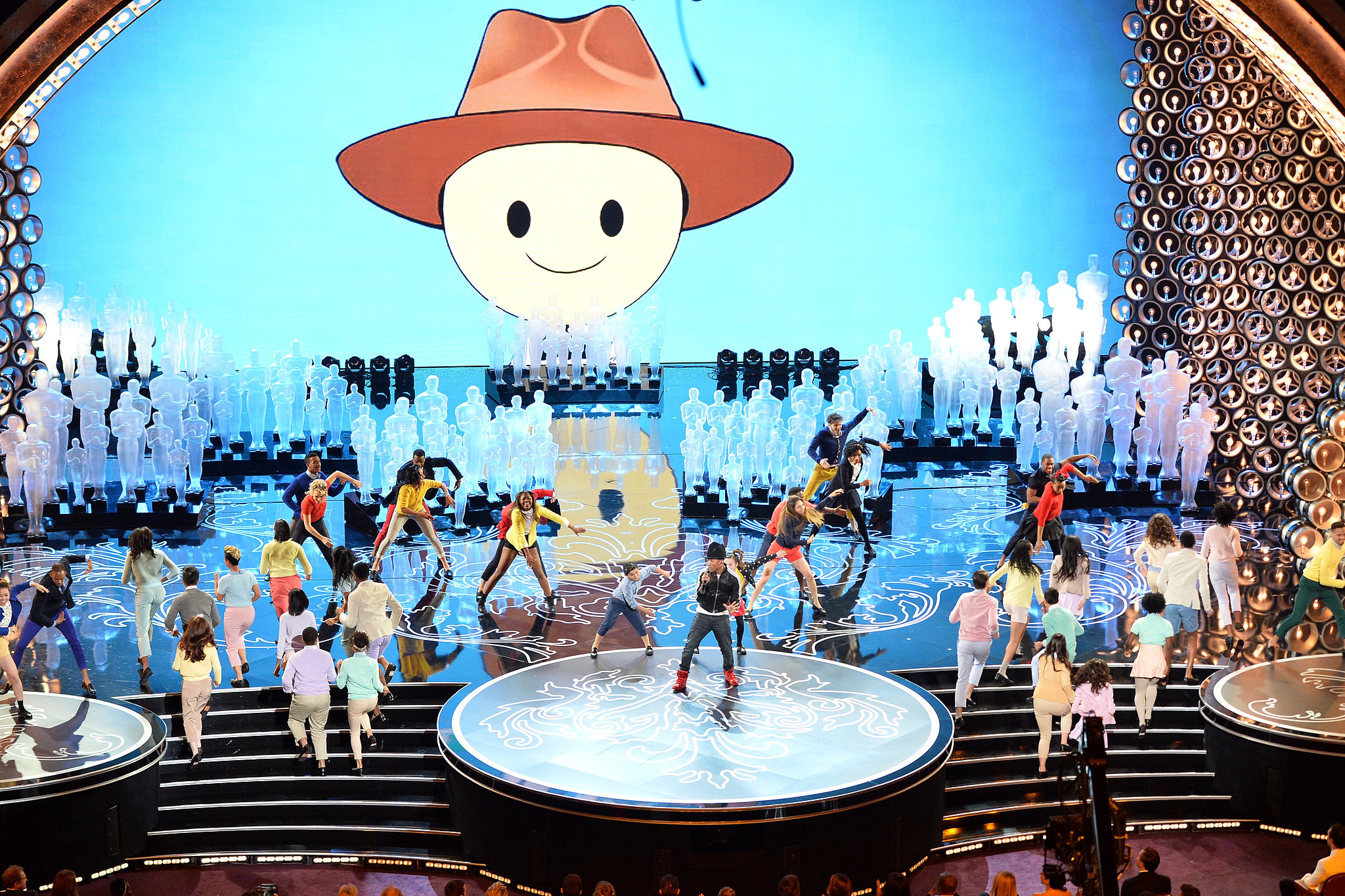 Pharrell's giant hat got its own cartoon version during his performance.