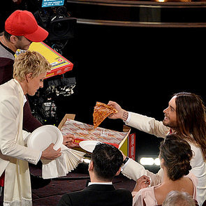 Ellen DeGeneres Pizza Delivery at 2014 Oscars