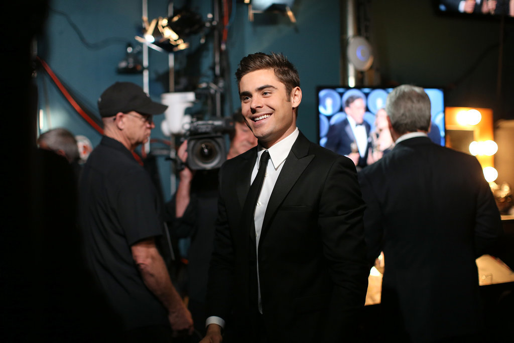 Zac Efron was all smiles backstage.