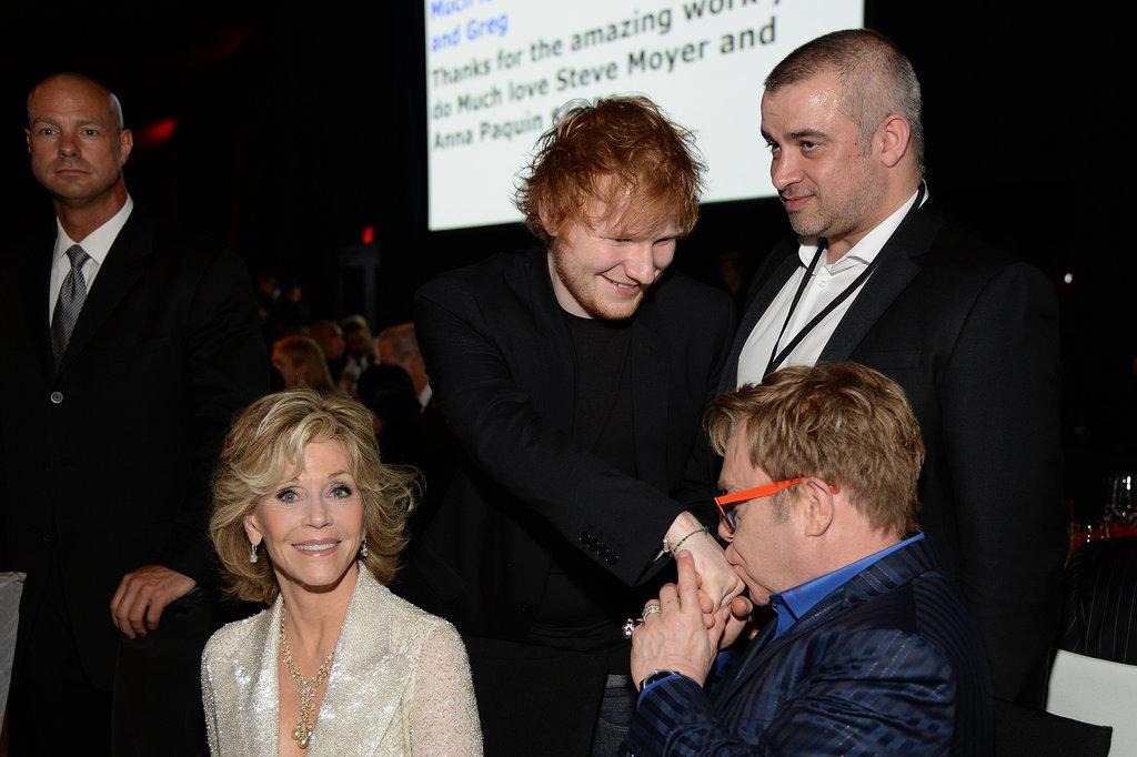 Elton kissed Ed's hand inside the bash.