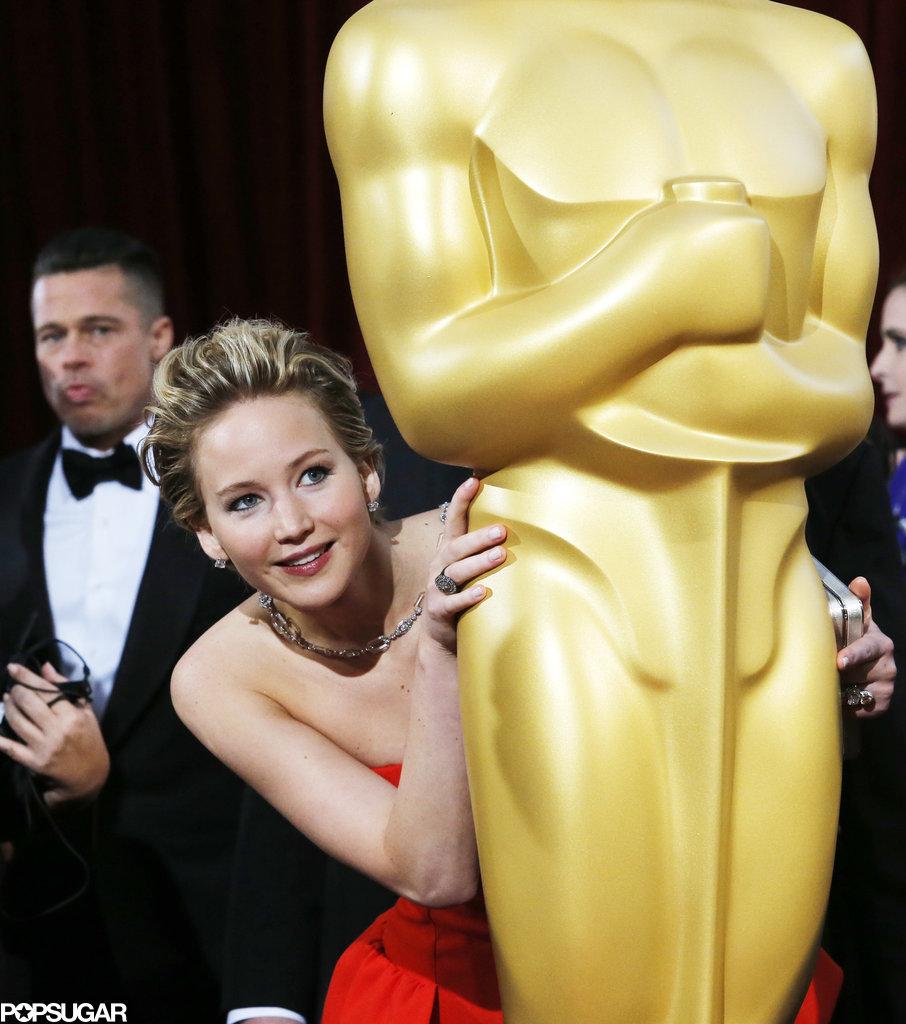 She Hid Behind a Giant Oscar