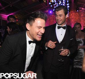 Channing-Tatum-cracking-up-while-mingling-Chris-Hemsworth