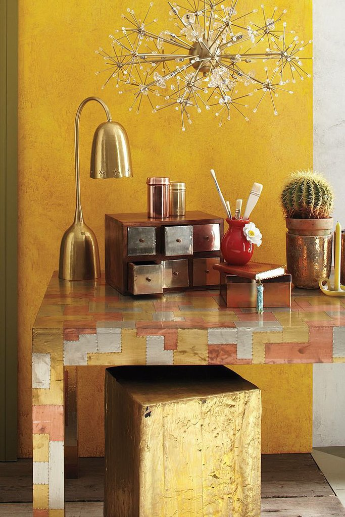 While metallics have been trending for quite some time, copper has become the singular star for 2014. This copper desk collection ($12-$32) easily adds polished glamour — no matter your workload!