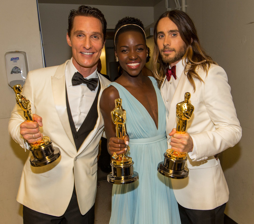 After she won the Academy Award for best supporting actress, Lupita posed backstage with fellow winners Matthew McConaughey and, yes, Jared Leto.