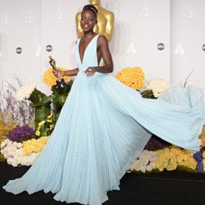 Lupita Nyong'o in Light Blue Prada Dress at Oscars 2014