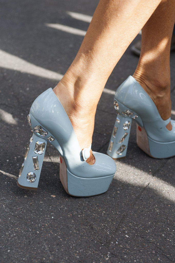 These crystal-heeled pumps would surely give you a leg up.