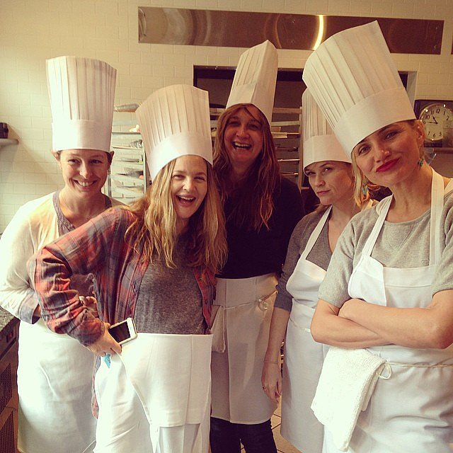 The girls showed off their chef hats. Source: Instagram user lesliefremar