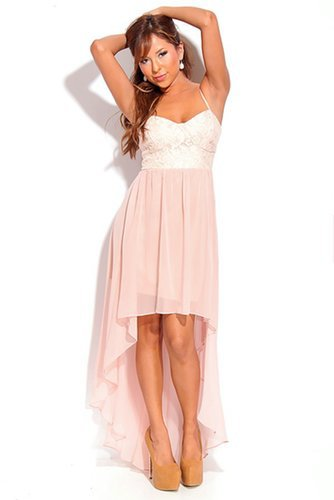 DUSTY PINK FLORAL LACE SHEER CHIFFON HIGH LOW DRESS