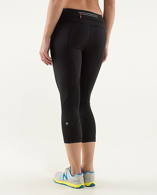"With a new CEO at its helm, I decided to give Lululemon another shot. When I finally tried on the Run Inspire Leggings, it was as if someone read my mind: everything I had ever wanted in a workout capri was there. The leggings have the perfect amount of sheen without falling into the territory of disco-ready spandex, and they feel soft against the skin. And even during the sweatiest workouts (SoulCycle, anyone?!), the material keeps me dry. It also keeps me covered — you'll be happy to know that Lululemon has revamped its material to avoid any see-through issues at the gym. Best of all is the ""block-it pocket,"" which promises to keep everything dry. Gone are days of going on a run and sheepishly handing my soggy money over to a store clerk while he looks at me in disgust. Postrecovery chocolate milk can now be bought without any guilt — and with completely bone-dry dollar bills!"