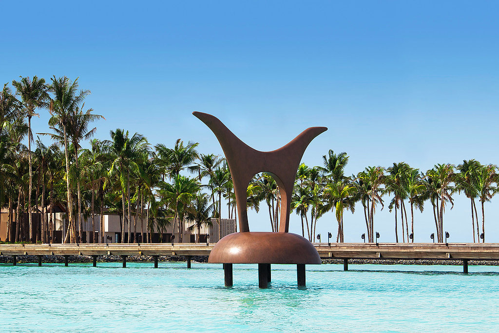 Every part of the resort area is impressive. Case in point: this dramatic water sculpture.  Source: Cheval Blanc Randheli