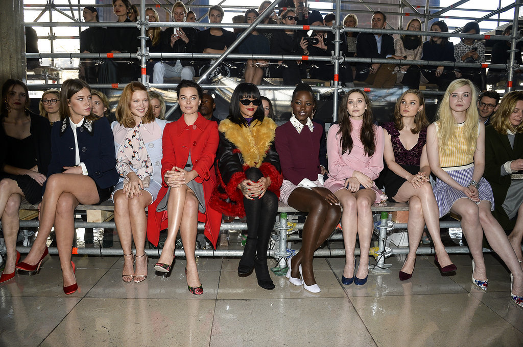Rihanna and Lupita Nyong'o sat together in the front row at Paris Fashion Week.