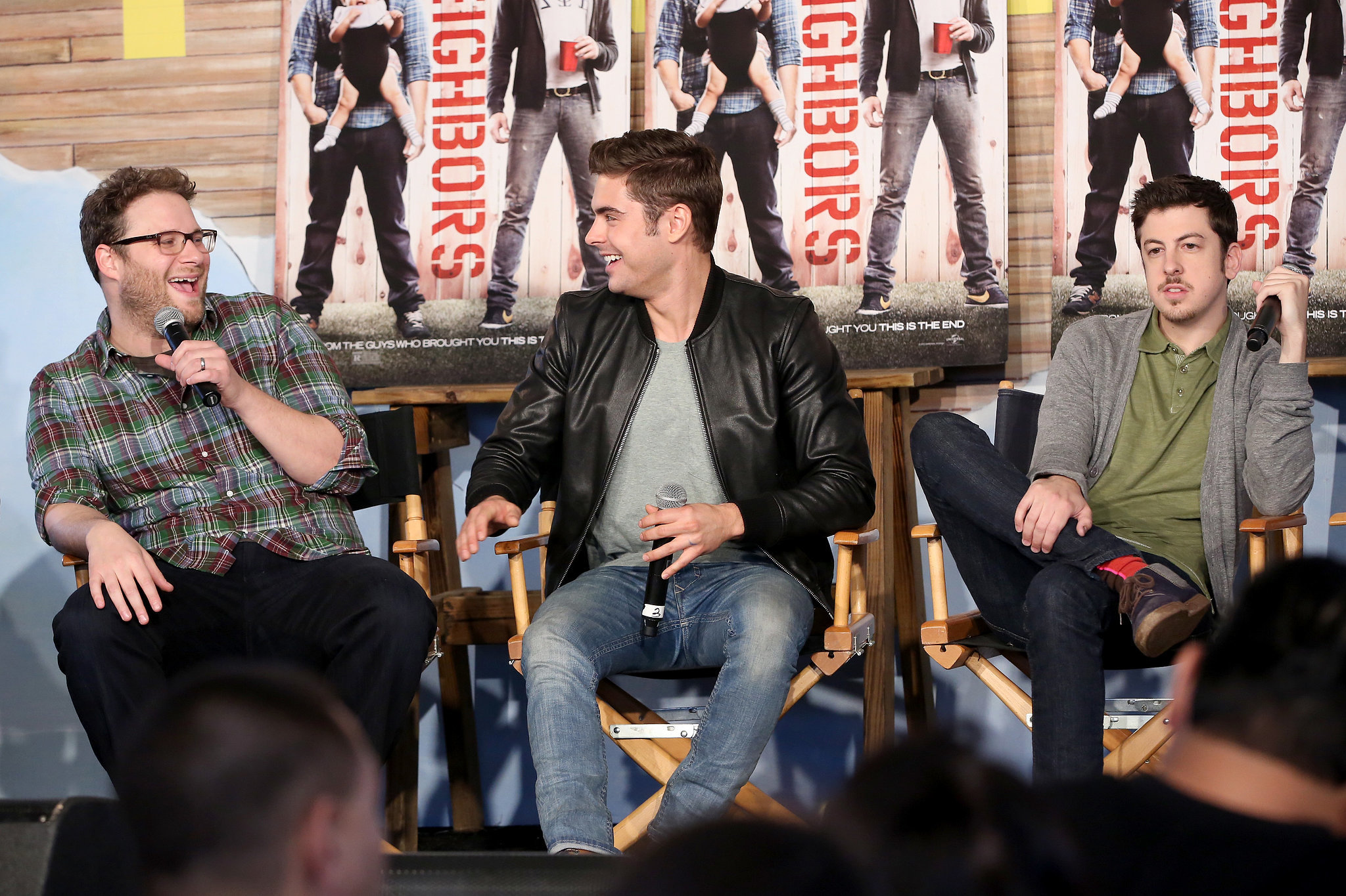 Neighbors costars Seth Rogen, Zac Efron, and Christopher Mintz-Plasse had an engaging chat at the Funny or Die Clubhouse  and Facebook Pop-Up headquarters on Saturday.