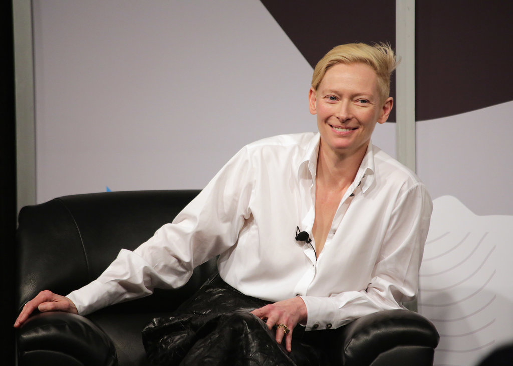 Tilda Swinton was all smiles while fielding questions in front of an audience on Saturday.
