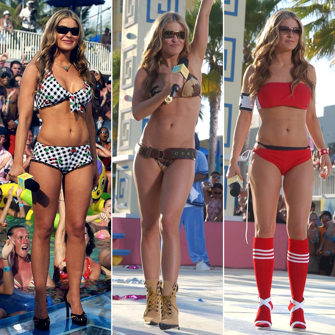 2003: Carmen Electra wears no fewer than 10 bikinis during her hosting gig in Miami.