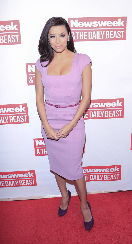 In January 2013, Longoria was a step ahead of the pastel trend working a lilac crépe Elie Saab and regal suede pumps.