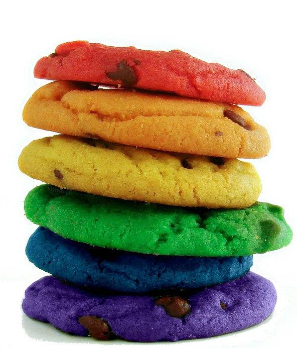 Rainbow Chocolate Chip Cookies
