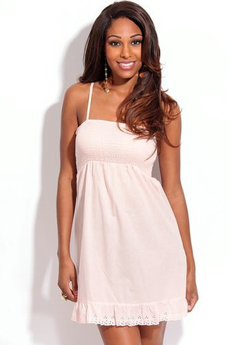 PINK SMOCK TUBE TOP DRESS WITH ADJUSTABLE STRAP