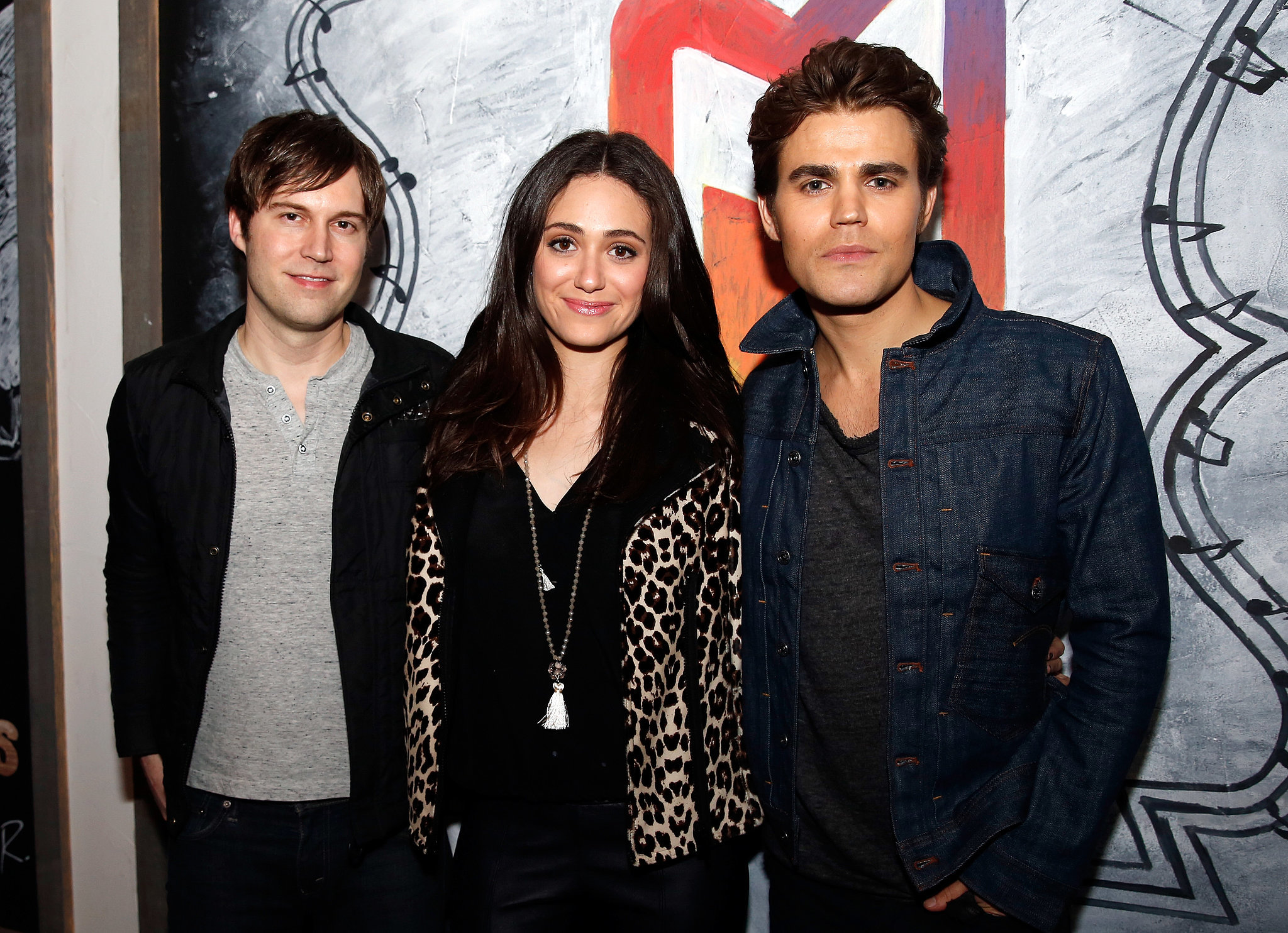 Paul Wesley and Emmy Rossum posed with their film Before I Disappear's