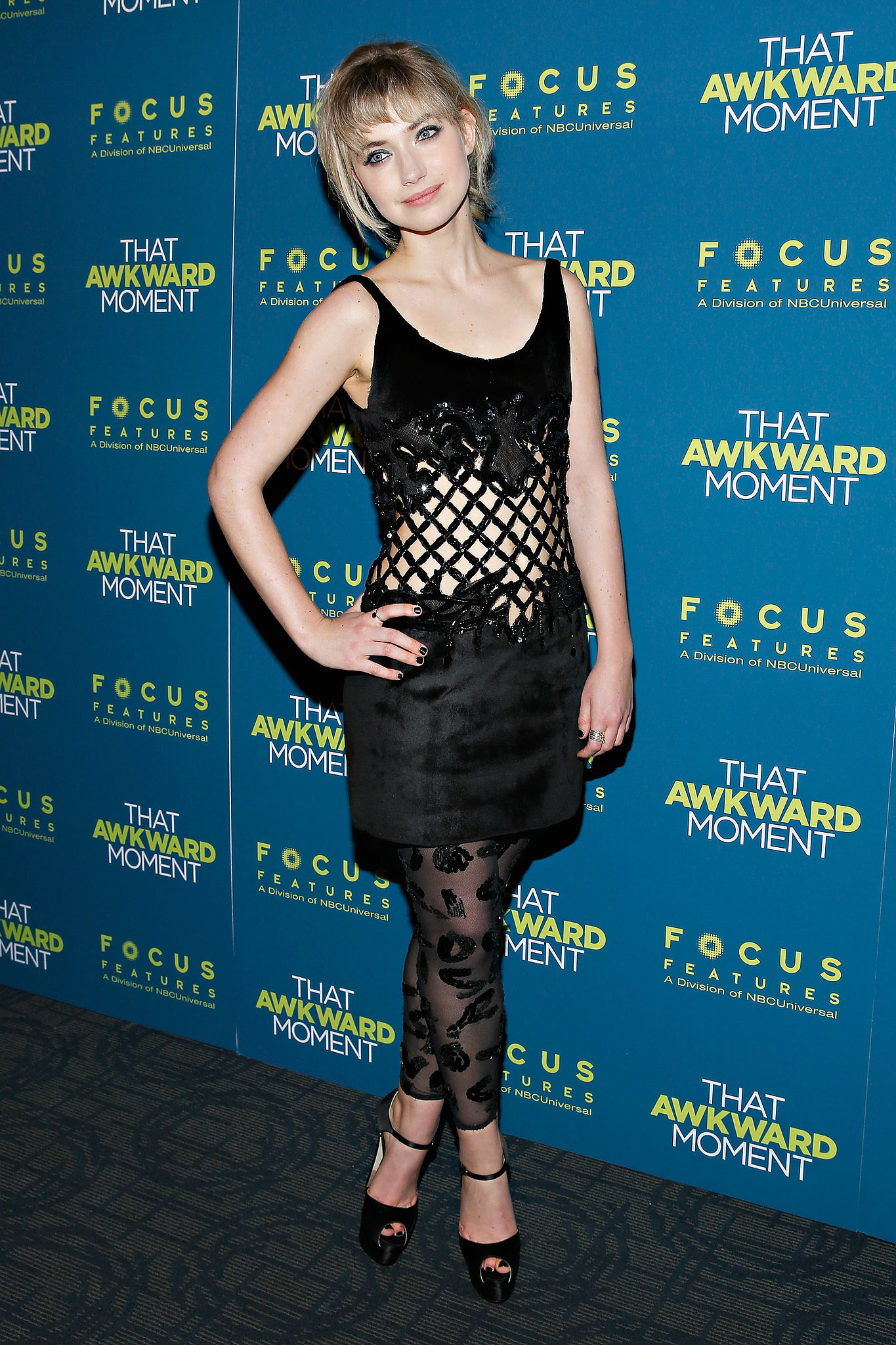 Mixing her textures with a panelled dress and embellished leggings, Imogen tried a risky look for the NYC screening of That Awkward Moment.