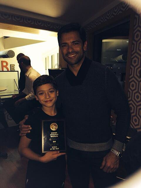 Joaquin Consuelos took home a trophy for his wrestling achievement. Source: Twitter user KellyRipa