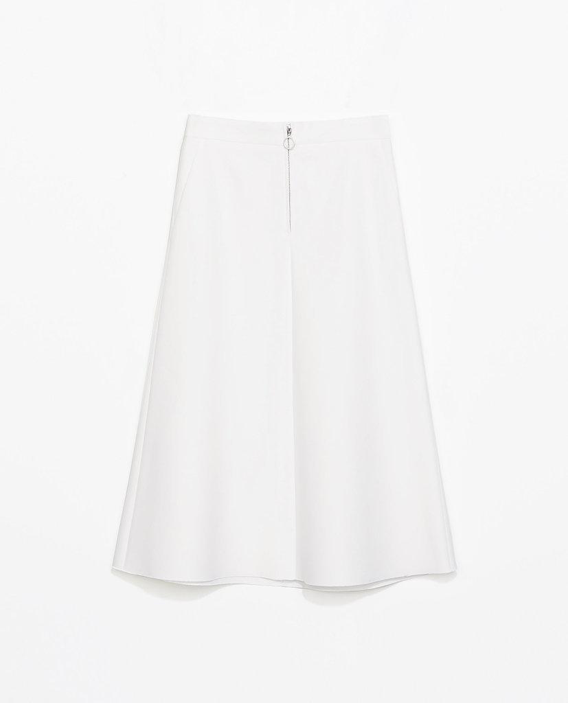 Zara white zipped midi skirt ($80)