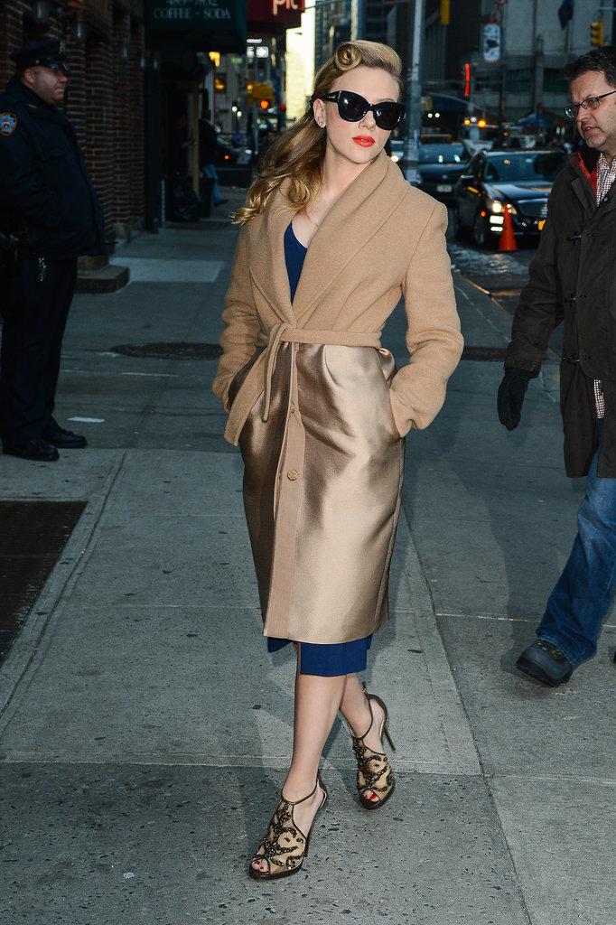 Scarlett Johansson Outside Late Show With David Letterman
